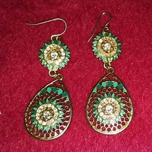 Two tone blue drop earrings